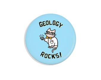Science Cat Pin Back Button Cute Gift Science Gift Geology Rocks Button Pinback Button Cute Cat Magnet
