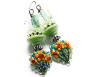 Floral Earrings - Flower Earrings - Green Earrings - Lampwork Earrings - Artisan Earrings - Bold Earrings - Bohemian Earrings - Gypsy Style