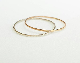 Day & Night Stack Rings Set  Sterling Silver,  14k Golden Textured Stack Rings, Recycled Sterling Silver, Two Dainty Skinny Rings Valentine
