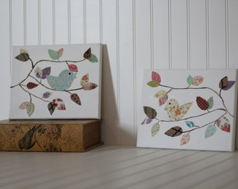 2 set canvas birds on branches