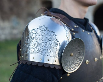 """Etched Pauldrons """"Knight of Fortune""""; Medieval Pauldrons; Arm Armor; Pauldrons"""