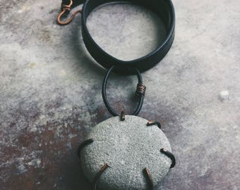 Stone Moon necklace | natural stone, natural jewelry, earthy jewelry, natural pendant, stone necklace, large stone necklace, gray stone
