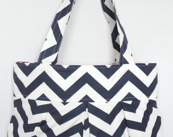Pleated Hand Bag, purse or diaper bag in navy blue chevron and red geometric lining with four pockets.
