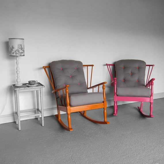 Mid Century Vintage Rocking Chairs Modernist Stick Back Upholstered Painted Restored