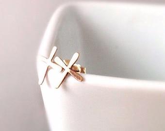 Gold Cross Earrings, Cross Earrings, XO Earrings, Silver Cross Earrings,  Silver Stud Earrings,