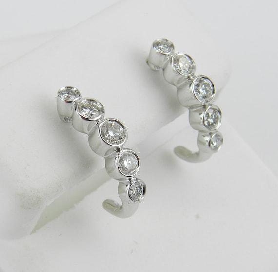 Diamond J Hoop Earrings Diamond Half Hoops set in White Gold Graduation Gift