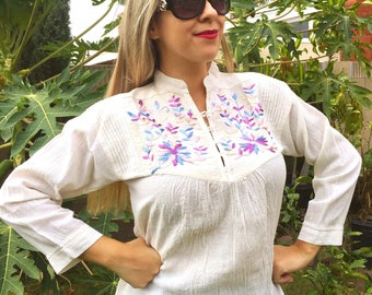 Vintage Style Hand Embroidered Blouse Ivory and pastel Colors S/M Size- Long Sleeves