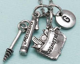 Cosmetics necklace, cosmetics charm, theme necklace, personalized necklace, initial necklace, initial charm, monogram