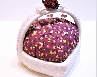 Handmade Pink Porcelain Heart Shaped Pincushion Embellished with Lace and Ribbons by FairyLace Designs