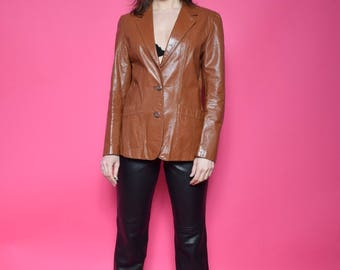 Vintage 70's  Brown Real Leather Button Jacket / Genuine Leather Brown Blazer - Size Large