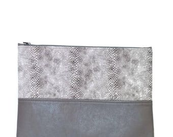 Clutch / Oversize Clutch Bag /  Fold over Clutch Bag / Clutch Purse / Evening Bag / Purse / Handbag / Gray