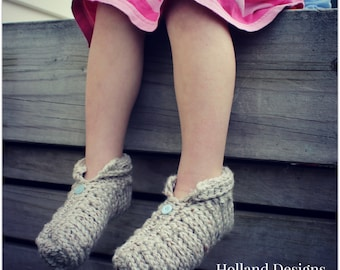 Download Now - CROCHET PATTERN Chunky Ribbed Slippers - Toddler and Youth - Pattern PDF