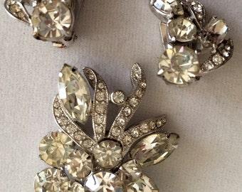 SALE! Vintage Eisenberg Ice Jewelry Rhinestone Set Brooch Earrings Set wedding holiday