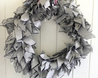Silver dupion silk wreath