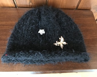 NEW!!!! Sparkling jeweled embroidered beanie/soft blend of wool/free shipping