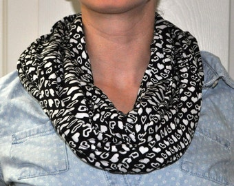 Black and White Hearts Jersey knit Infinity Scarf