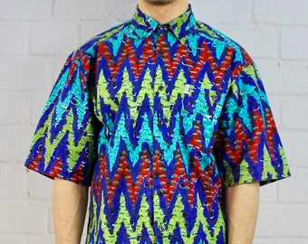 Mens Vintage 80s 90s Fresh Prince Abstract Zigzag Geometric Print Multicolor Angels Flight Short Sleeve Button Down Festival Shirt