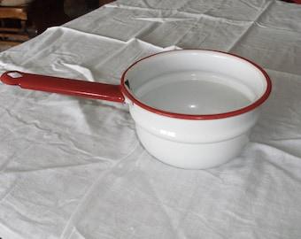 Vintage Red and White Enamel Pan