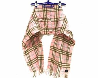 BURBERRY LONDON PRORSUM Nova Check Pink Scarf Fringes Lambswool England Muffler