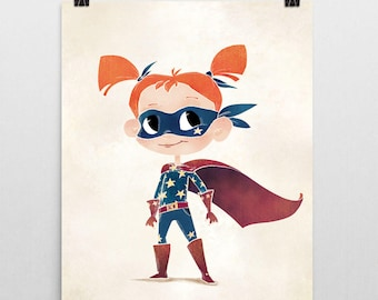Superhero Nursery Print – Star Girl
