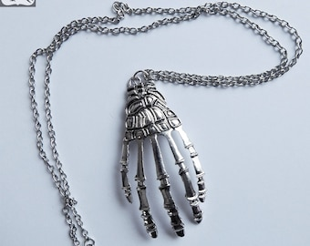 Large Gothic Silver Toned Metal Skeleton Hand Necklace on Long 14 Inch Chain