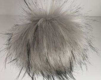 Luxury Silver with Black long-haired Norwegian Faux Fox Fur Pom Pom