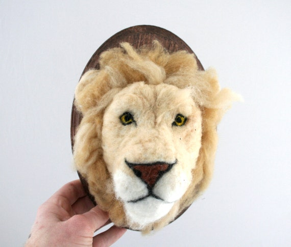 Wool Faux Taxidermy Lion (Panthera leo)
