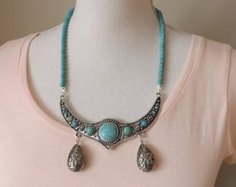 Boho necklace, party necklace, turquoise necklace, antique silver necklace, festival jewellery, gypsy necklace, party jewellery, Bohemian