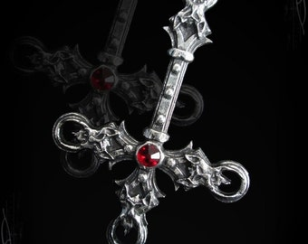 Satanic Gothic Inverted Cross with 4 demon heads, and gemstone of your choice, Satanic Jewelry