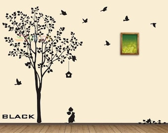 Tree Wall Decal Nursery Wall Decal Birds Cat Wall Sticker Large Tree Wall Decal
