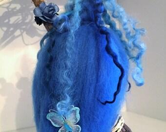 Beautiful Blue Needle Felt Witch, Waldorf Inspired