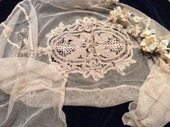 Red de novia vintage con encaje Battenburg cinta cinta antiguo ...