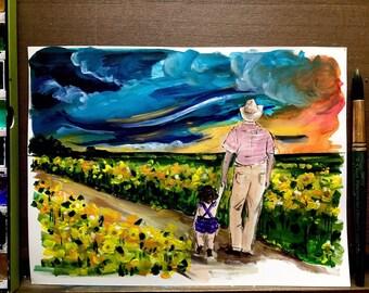 Sunflower Field  Print of  Gouache Illustration