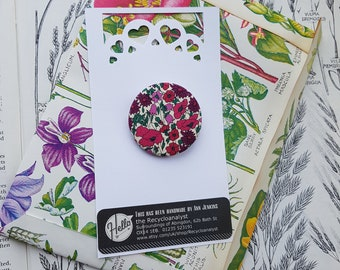 Liberty of London Fabric Brooch - Tana Lawn - Petal and Bud - Birthday Badge - Collar Pin - Lapel Pin - 36mm - Classic Design - Simple Style