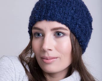 Knitted Mohair Beanie in Navy Blue