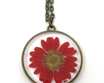 Red Daisy Resin Pendant Necklace - Real flower encased in resin - Resin Jewelry - Pressed Flower Jewelry - Open Back Resin Pendant