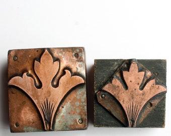 FLEUR de LIS Silhouette 1903-1953 Antique GERMAN Copper Letterpress Cut printing block Flourish