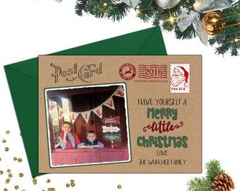 Post Card Christmas Card; Photo Christmas Card; Post Card Photo Christmas Card; Post Card Holiday Card; Kraft Paper Christmas Card