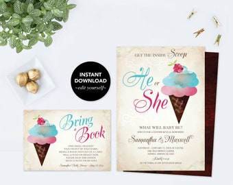 Baby Shower Bundle, Ice Cream GENDER REVEAL INVITATION, Gender Reveal Ideas, Instant Download, pdf Digital, Invitation, Book For Baby
