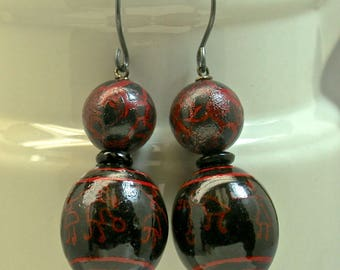 Vintage Chinese Black Red Lacquer Bead Dangle Drop Hand Painted Earrings,Handmade Oxidized Sterling Silver French Ear Wires