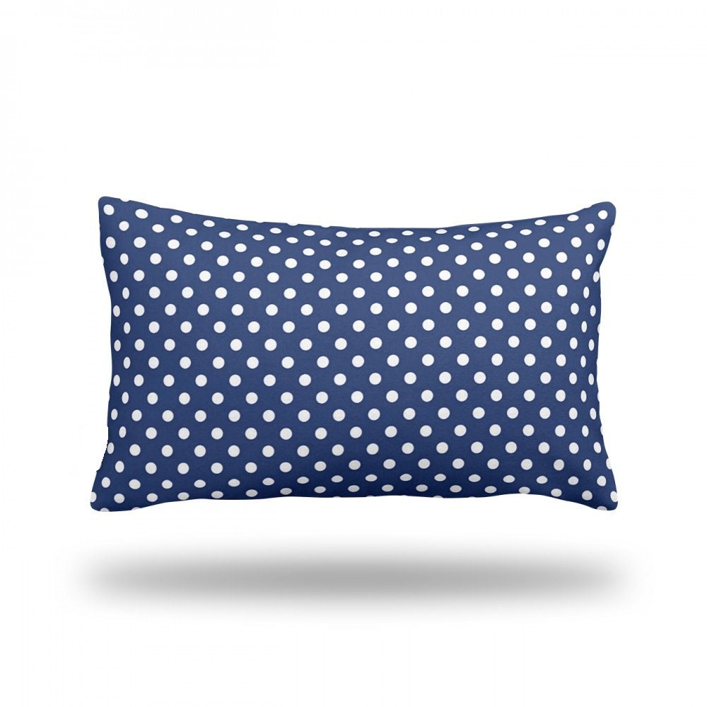 Polka Dots on Dark Blue Decorative Throw Pillow Pillow