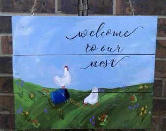 Folk Art Hand Painted Chickens Wood Sign,Welcome Sign, Door Hanger
