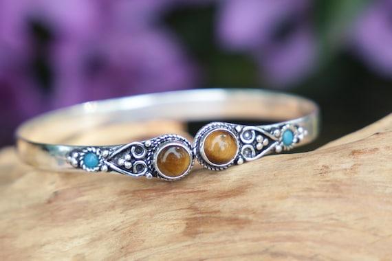TIBETAN TIGERSEYE CUFF -Silver Bracelet- Tigers Eye- Healing Crystal Jewellery- Chakra- Statement bracelet- Boho- Vintage jewellery- Tibetan