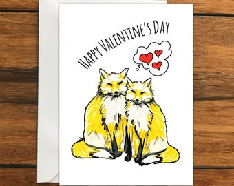 Happy Valentine's Day Foxes greeting card A6 One Card and Envelope Valentine's Romantic