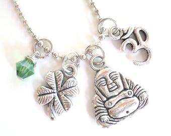Buddha Necklace Good Luck Yoga Jewelry Om Zen Namaste Earthy Unique Gift Under 50 Item T8