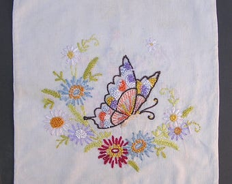Vintage Embroidered Pillow Cover . Cottage Chic Decor . Butterfly & Flower Basket Embroidery