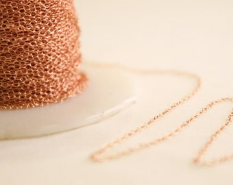 14k Rose Gold Filled Chain by the Foot - 1.3mm Round Cable Chain - Thin Chain - Pink Gold Chain - Wholesale Chain Custom Length / RGF-CH001