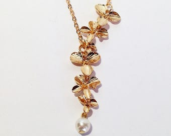 Orchid Necklace, Orchid Jewelry, Cascade Necklace, Bridesmaid Gift, Mom Gift, Best Friend Gifts, Gold Necklace Gift for Her, Mothers Day