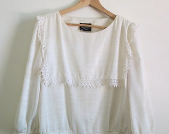 Vintage Ivory Lace Blouse Shirt- Tie, Sleeve, Bib 70s 80s