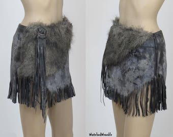 BARBARIAN SKIRT Post Apocalyptic  Black LEATHER Fringe Viking Skirt, Size Small